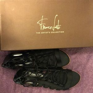 """Franco Sarto"" Black leather sandals"